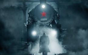 Картинка cinema, star, war, night, man, movie, train, film, plates, iron, rails, red star, mist, railway …