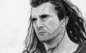Картинка лицо, рисунок, герой, Мэл Гибсон, Храброе сердце
