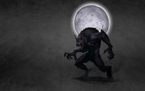 Картинка луна, дым, волк, оборотень, красные глаза, wolf, темноватый фон, werewolf