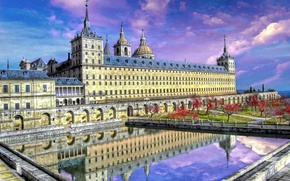 Картинка небо, деревья, пруд, парк, Испания, дворец