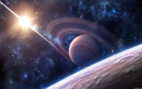 Картинка солнце, космос, звезды, свет, планеты, галактика, яркое