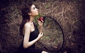 Картинка яблоко, зеркало, Model, Miki Nguyen