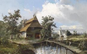 Картинка картина, живопись, painting, Carl Georg Köster, 1881, Schmiede am Bach