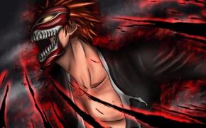 Картинка огонь, магия, маска, парень, Bleach, Блич, kurosaki ichigo, art, Gray-Fullbuster