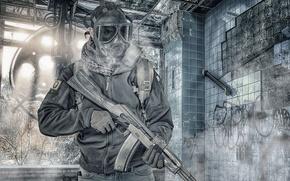 Картинка лицо, оружие, фон, противогаз, мужчина, штурмовая винтовка