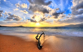 Обои море, восход, песок