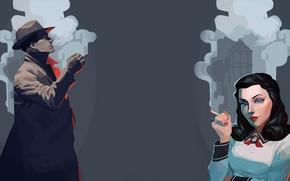 Картинка дым, сигарета, rapture, bioshock, art, восторг, bioshock infinite, Элизабет, Elisabeth, Букер ДеВитт, booker dewitt, Burial …