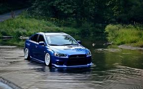 Картинка вода, синий, Mitsubishi, lancer, evo