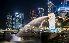 Обои подсветка, Сингапур, небоскрёбы, мегаполис, фонтаны, Singapore