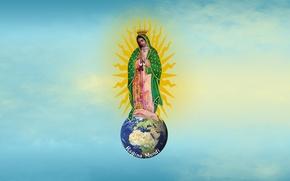 Картинка world, earth, sky, sun, women, Madonna, queen mary, latin, Santa Maria, Jesus Christ, christianity, Virgin …