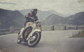 Картинка дорога, небо, облака, горы, долина, мотоцикл, мужчина