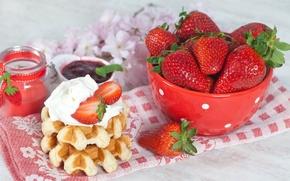 Картинка кофе, завтрак, клубника, крем, вафли, джем, strawberry, coffee, cream, jam, Breakfast, waffles