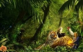 Обои красота, рисунок, тигр, джунгли, животные