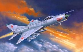 Картинка небо, облака, рисунок, арт, самолёт, истребитель-перехватчик, всепогодный, советский, Су-9, однодвигательный