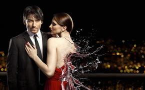 Картинка вода, девушка, брызги, парень, Любомир Сергеев