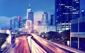 Обои город, огни, движение, обои, здания, дороги, Гонконг, небоскребы, вечер, мегаполис, wallpapers, Hong Kong