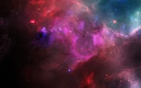 Картинка космос, туманность, свечение, звёзды, яркое, Space nebula