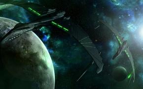 Картинка космос, планета, звёзды, predators in green