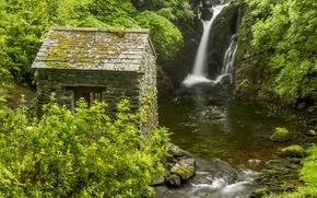 Картинка река, Англия, водопад, хижина, кусты, England, Lake District, Rydal Hall Waterfall