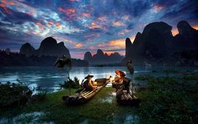 Картинка птицы, река, лодки, вечер, фонари, Китай, рыбаки, бакланы, район Гуанси-Чжуанск