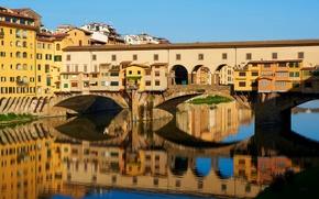 Картинка мост, река, дома, Италия, Флоренция, Ponte Vecchio, Firenze, Арно