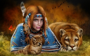 Обои индианка, девушка, кугуар, пума, детеныш