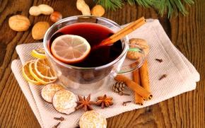 Картинка зима, лимон, печенье, чашка, напиток, орехи, корица, праздники, пряности, анис, глинтвейн