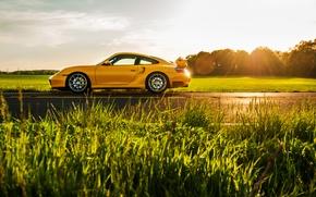 Картинка желтый, 911, Porsche, спорткар, side, порше, 996