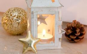 Картинка игрушка, звезда, шар, свеча, Новый Год, Рождество, фонарик, золотой, шишка, Christmas, звёздочка, праздники, New Year, ...