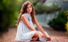 Картинка платье, девочка, wavy hair, child photography, In the Quiet