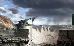 Обои флаг, пушка, Fallout, New.Vegas