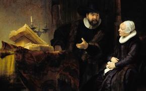 Картинка портрет, картина, жанровая, Рембрандт ван Рейн, Проповедник Ансло и Его Жена