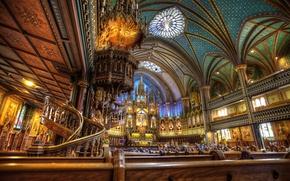 Картинка Канада, церковь, балкон, религия, колонна, Собор Монреальской Богоматери, Базилика Нотр-Дам де Монреаль, амвон