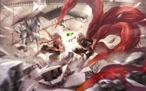Картинка улыбка, оружие, злость, разрушения, маска, коса, парни, сражение, art, tokyo ghoul, kaneki ken, коготь, suzuya …