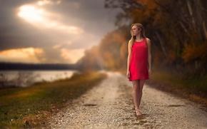 Картинка дорога, осень, девушка, платье, боке