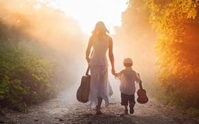 Картинка дорога, путь, гитары, мальчик, утро, мама, сын