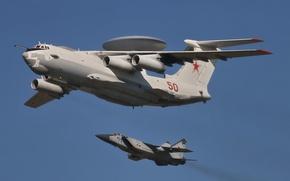 Картинка полет, истребитель, самолёт, А-50, ДРЛО, двухместный, перехватчик, МиГ-31, дальнего, обнаружения, радиолокационного
