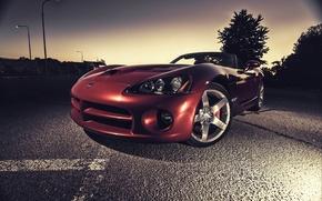 Картинка асфальт, красный, Dodge, red, Viper, додж, вайпер, SRT10