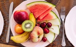Картинка арбуз, киви, фрукты, банан, персик, черешня, дыня, нектарин