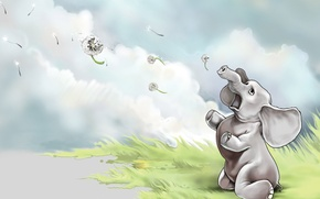 Картинка рисунок, слон, Одуванчики