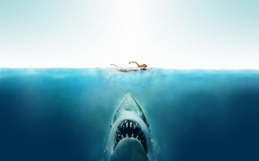 Обои море, акула, Челюсти, девушка