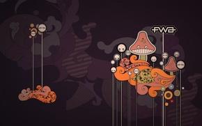 Обои графика, вектор, fwa, грибы, надпись