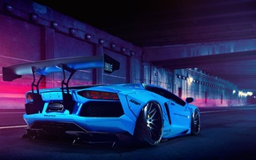 Картинка Lamborghini, Blue, LP700-4, Aventador, Liberty Walk