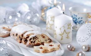 Обои шарики, чай, свечи, печенье, Рождество, Новый год