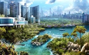 Картинка город, река, камни, пальмы, корабль, яхта, арт, солнечно