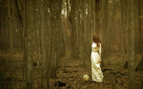 Обои глобус, девушка, лес