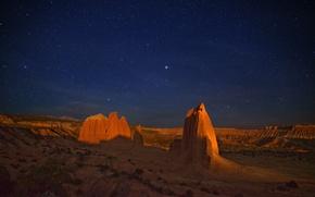 Обои скалы, пустыня, ночь, каньон, звездное небо