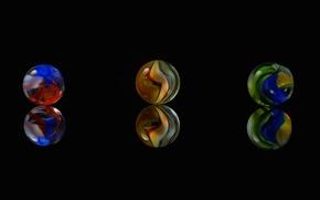 Картинка стекло, макро, отражение, краски, шарик