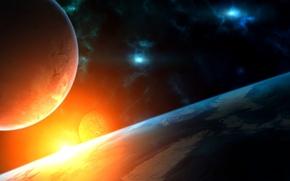 Картинка планеты, туманности, звезда, космос, яркая