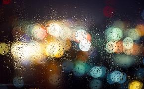 Картинка мокро, стекло, капли, макро, ночь, город, огни, боке